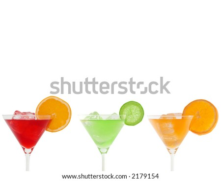 colorful cocktails isolated on white and clipping path included - stock photo