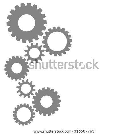 Colorful cog gear wheels background in grey - stock photo