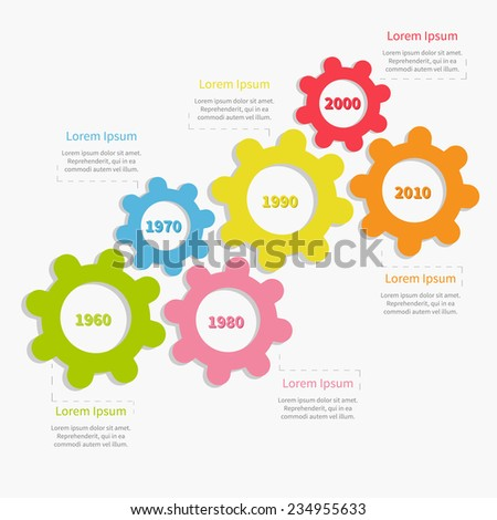 Colorful cogwheel gear timeline infographic template. Flat design - stock photo