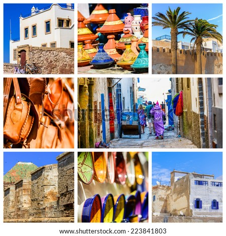 colorful collage and composition of objects or typical places of Morocco - stock photo