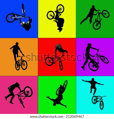 colorful collage background silhouette of bmx riders in action - stock photo