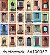Colorful collage made of windows from Venice, Italy - stock photo
