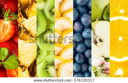 Colorful collage of assorted tropical fruit with vertical bands displaying strawberries, pineapple, banana, blueberries, apple and oranges for a food background - stock photo