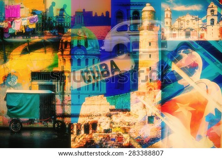 Colorful collage of Havana Cuba images with most of its famous landmarks - stock photo