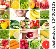 colorful collage with healthy food - stock photo
