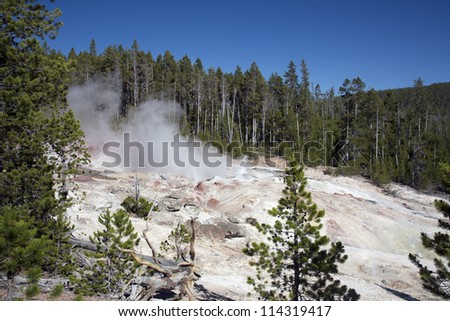 Colorful composition of geyser in hot springs in Yellowstone National Park, Montana, Wyoming, USA - stock photo