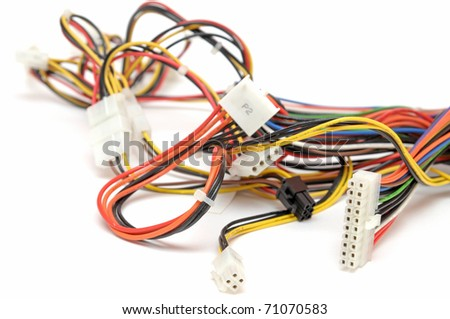 Colorful computer wires - stock photo