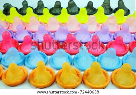 colorful condom - stock photo