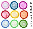 Colorful condoms  isolated on white background - stock photo