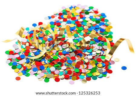 colorful confetti background with golden streamer over white. carnival party decoration - stock photo
