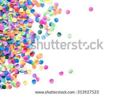colorful confetti on white background - stock photo