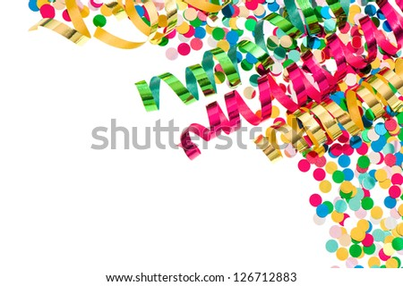 colorful confetti with multicolored streamer over white background. party decoration - stock photo