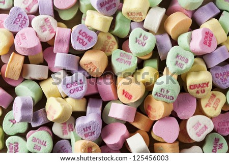 Colorful Conversation Hearts Candy for Valentines Day - stock photo