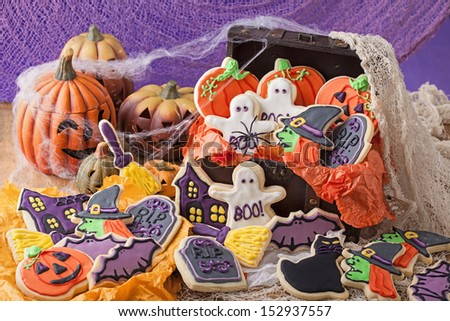 Colorful cookies for halloween party - stock photo