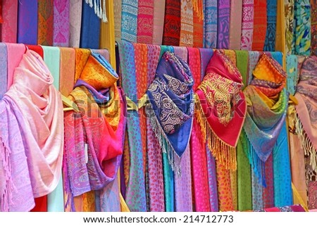 Colorful cotton and linen brocade scarfs.  - stock photo