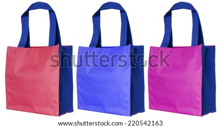 colorful cotton bag isolated on white background with clipping path - stock photo