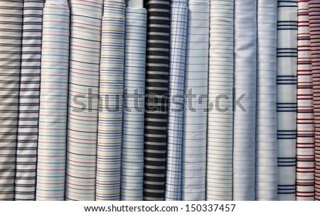 Colorful cotton fabric, fine fabrics beautiful silk. - stock photo