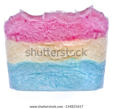 colorful cotton sweet  texture isolated on white  background - stock photo