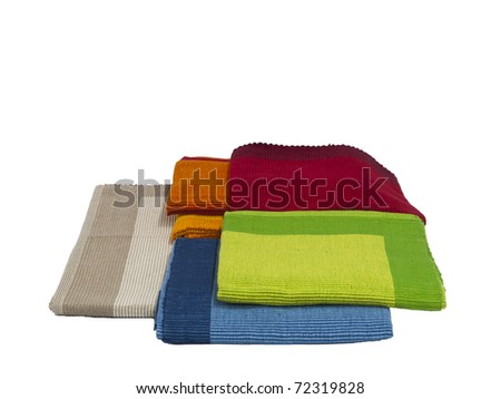 Colorful cotton Table napkin or tablecloth isolated on white / made and designed in India - stock photo