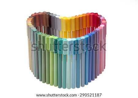 Colorful crayons, Colored pencils - stock photo