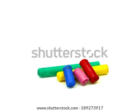 colorful crayons isolated on white background - stock photo