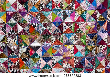 Colorful crazy quilt for sale, Island Bali, Ubud, Indonesia - stock photo