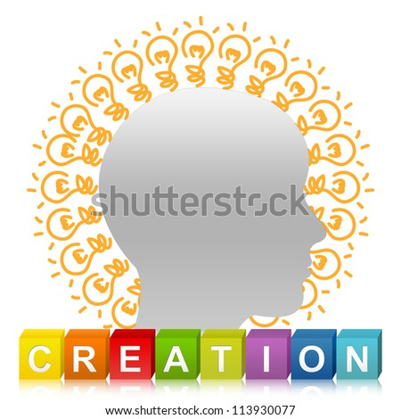 Colorful Creation Cube Box And Head With Many Light Bulb For Idea Generate Concept Isolate on White Background - stock photo