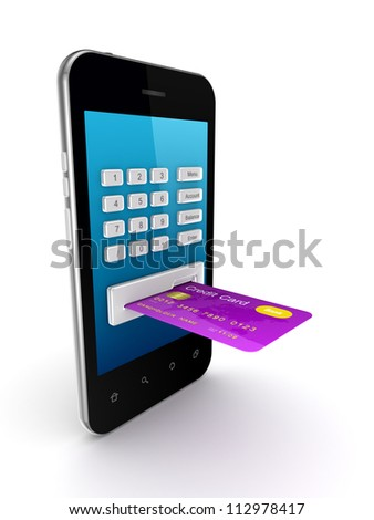 Colorful credit card connected to mobile phone.Isolated on white background.3d rendered. - stock photo