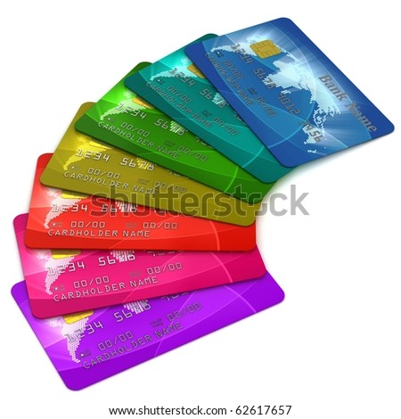 colorful credit cards over white background - stock photo