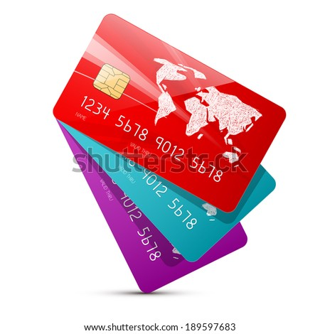 Colorful Credit Cards Set Illustration Isolated on White Background - stock photo