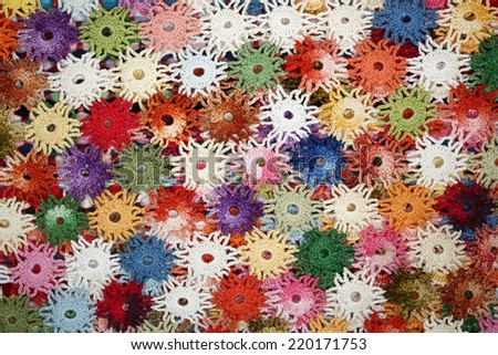 Colorful crochet doily - stock photo