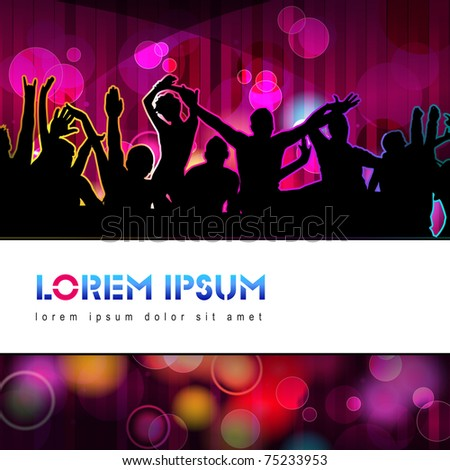 Colorful crowd of party people silhouettes background - stock photo