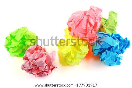 Colorful crumpled paper balls isolated on white - stock photo