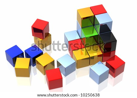 colorful cubes isolated over white background - stock photo