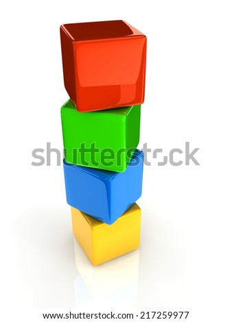 colorful cubes on white background. - stock photo
