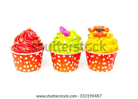 colorful cupcakes with beautiful decoration over white background  - stock photo