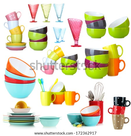 Colorful cups isolated on white - stock photo