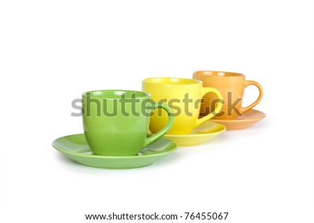 colorful cups on white background - stock photo