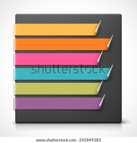 Colorful curled bookmarks. - stock photo