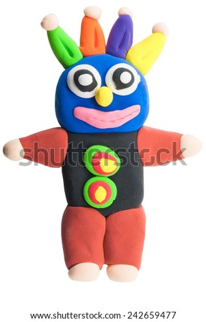 colorful cute monster made from plasticine  on isolated background - stock photo