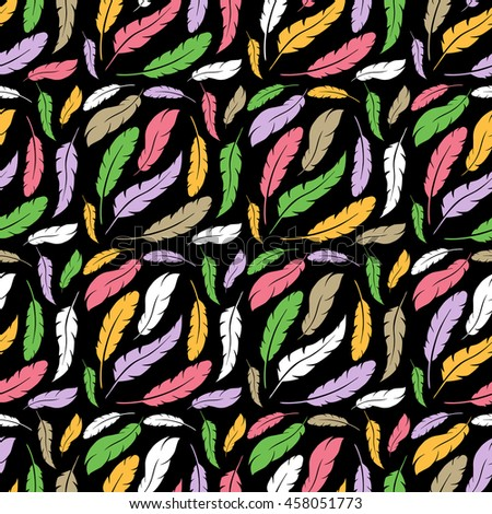 Colorful cute vector seamless pattern with variety of feathers background - stock photo