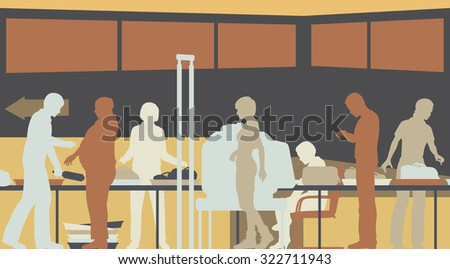 Colorful cutout illustration of hand-luggage and passengers being checked at airport security - stock photo