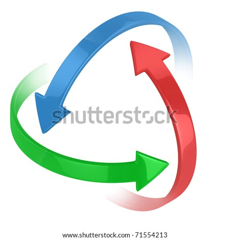 colorful 3d arrows circling around symbolizing protection or motion - stock photo