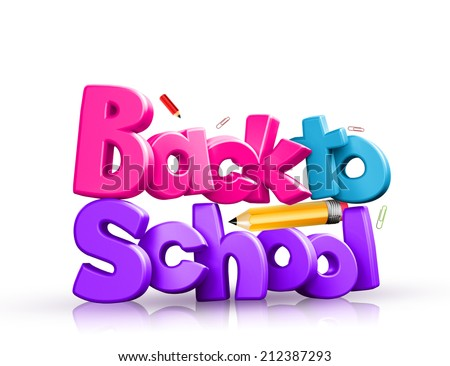 Colorful 3d back to school text - stock photo