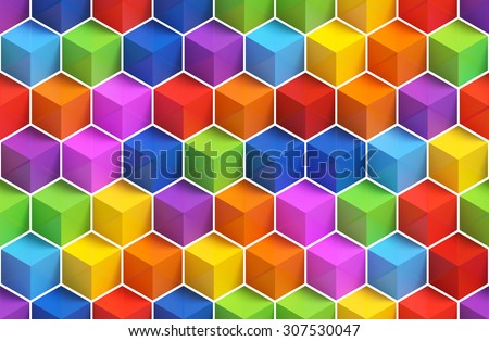 Colorful 3D boxes background - vibrant cubes seamless pattern - stock photo