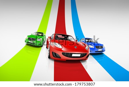 Colorful 3D Cars on Track - stock photo
