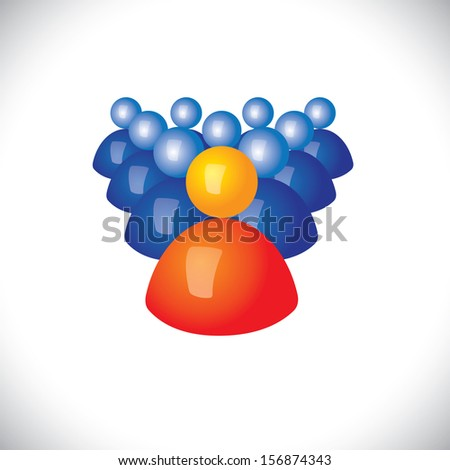 colorful 3d icons or signs of army of soldiers & commander - vector graphic. This illustration also represents sports captain and players, winner and losers, political leader & followers, gang, troop - stock photo