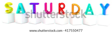 """Colorful 3d letters """"Saturday"""" on white cubes on a white background. 3D illustration. Anaglyph. View with red/cyan glasses to see in 3D. - stock photo"""