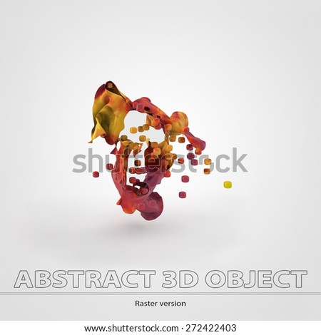 Colorful 3d object with cubes.Gap. Raster version. - stock photo
