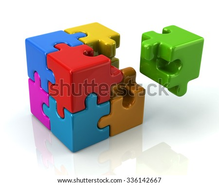 Colorful 3d puzzle cube with a missing piece on white background - stock photo